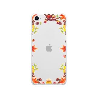つちのこのフレーム 秋 Soft clear smartphone cases