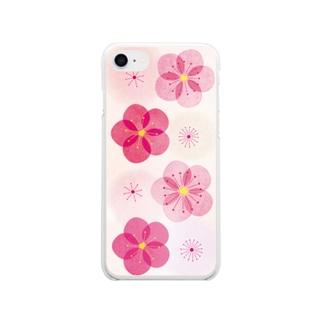 紅梅が咲くピンクのクリアスマートフォンケース【Iphone7、8】 Soft clear smartphone cases