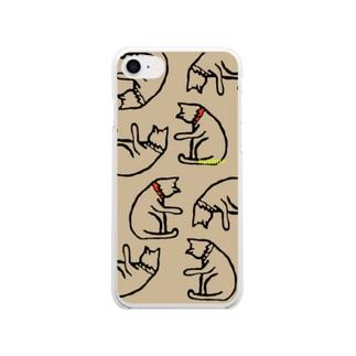 反省ねこがいっぱい(カーキ) Soft clear smartphone cases