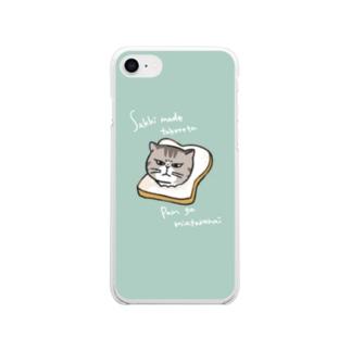 パン猫 Soft clear smartphone cases
