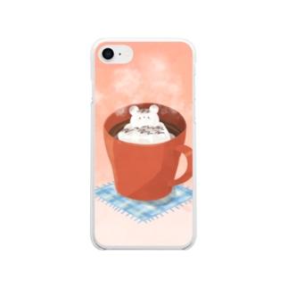 くましゅまろのホットチョコレート Soft clear smartphone cases