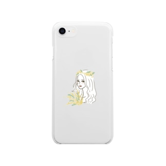 ミモザ Soft clear smartphone cases