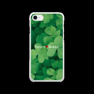 ミワサトのHeart Green スマホケース Soft clear smartphone cases