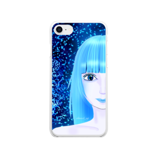 shimarch_mpの碧い瞳、青い世界 Soft clear smartphone cases