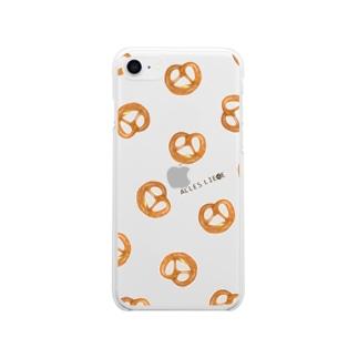 プレッツェルたくさん Soft clear smartphone cases