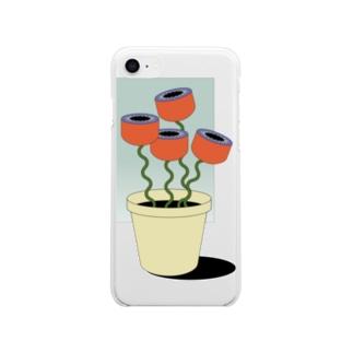 窓辺のお花 Soft clear smartphone cases