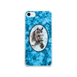 鉱物と馬の肖像(ブルー) Soft clear smartphone cases