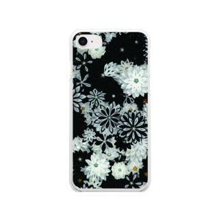 つまみ細工紋様 月白×墨色 Soft clear smartphone cases