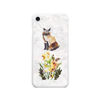 シャム猫とお花のiphone7・8のソフトクリアケース Soft Clear Smartphone Case