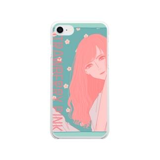 ストロベリーピンク Soft clear smartphone cases
