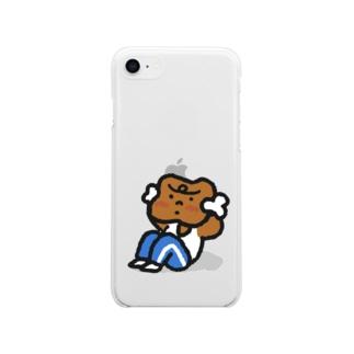 腹筋するマンガ肉(カラフル) Soft clear smartphone cases
