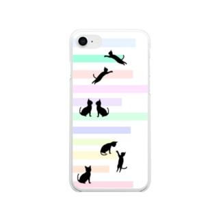 猫(ネコ)とパステルカラーの階段 Soft clear smartphone cases