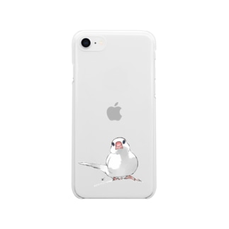尾曲がり白文鳥 Soft clear smartphone cases