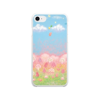 くまさんの森と空 Soft clear smartphone cases