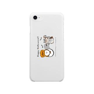 ハロウィンたまごと強がリス Soft clear smartphone cases