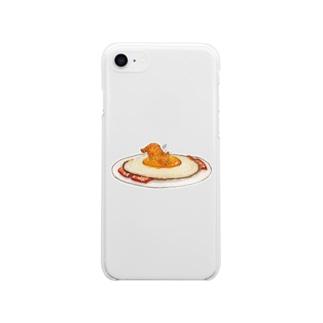ねことたまご - Sunny side up Soft clear smartphone cases