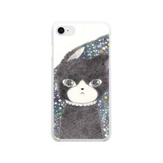 ネコはその先を見ている Soft clear smartphone cases
