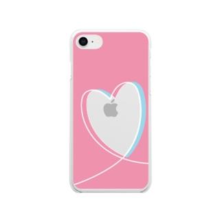 推し色スマホケース ピンク みずいろ Soft clear smartphone cases