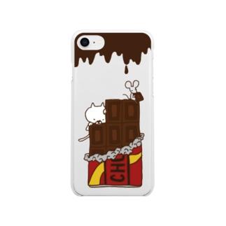 猫とネズミとチョコレート Soft clear smartphone cases