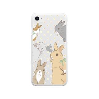 うさぎさんがみてる Soft clear smartphone cases