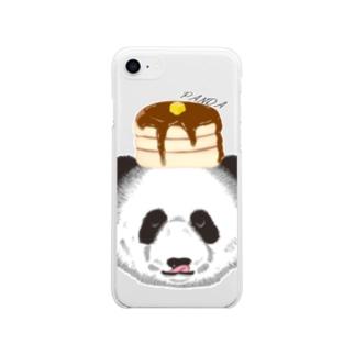 食いしん坊リアルパンダホットケーキ Soft clear smartphone cases