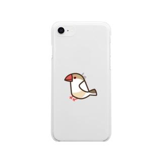クリーム文鳥 Soft clear smartphone cases