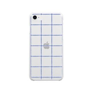 チェックデカめあお Soft clear smartphone cases