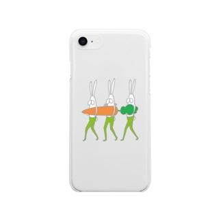 うさぎタイツとにんじんの移動 Soft clear smartphone cases