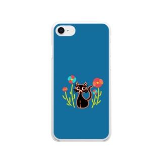 黒猫と花 Soft Clear Smartphone Case