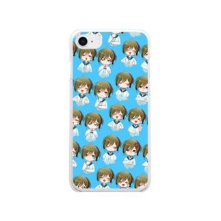 白竜スマホケース青背景 Soft Clear Smartphone Case