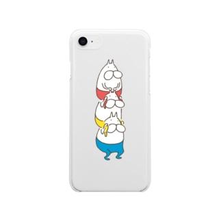 ねこタイツ かたぐるま Soft clear smartphone cases
