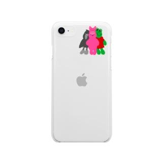 なかよし3匹 Soft clear smartphone cases