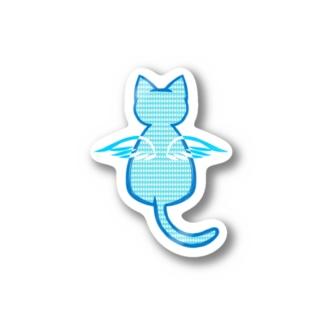 Angel Cat (ブルー) Stickers