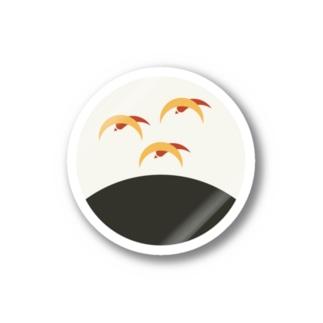 【まあるい花札】芒に雁 Stickers