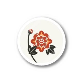 【まあるい花札】牡丹 Stickers