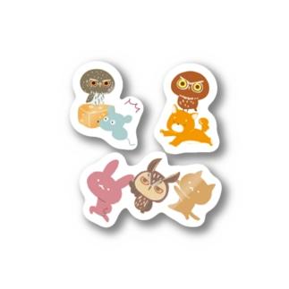 ふくろうが動物と戯れるセット Stickers