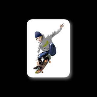 暇人が食べる時間のスケーター Stickers
