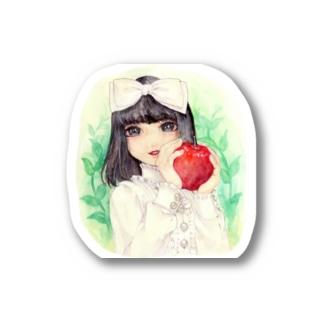 リンゴをもつ少女 Stickers