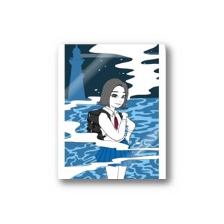 海辺の女の子 Stickers