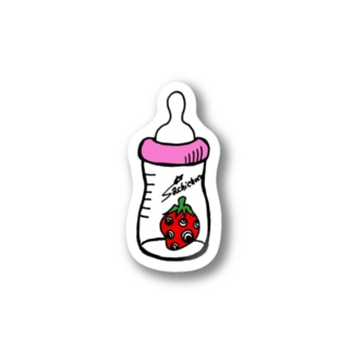 哺乳瓶いちご(ピンク) Stickers