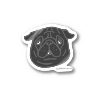 黒パグちゃん Stickers