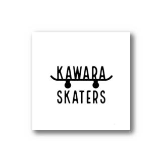 oreteki design shopのKAWARA SKATERS スケボーステッカー白 Stickers