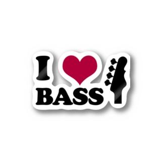 I LOVE BASS(BK) Stickers