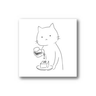 ひややっこに醤油をかける猫 Stickers