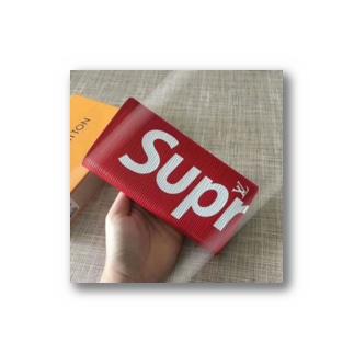 シュプリーム 赤色 長財布 人気 Stickers