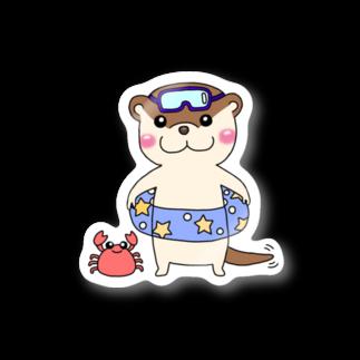 カワウソちゃんのお店の海水浴カワウソ(縁なし) Stickers
