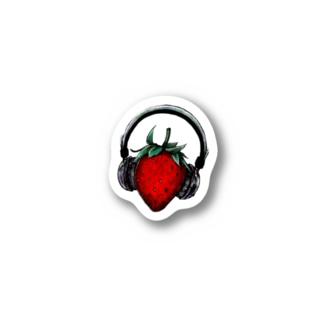 苺とヘッドフォン Stickers