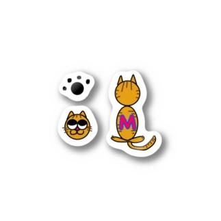 イニシャル猫セット Stickers