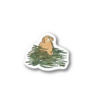 チモシーに埋もれるうさぎさん オレンジロップ Sticker