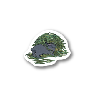 SCHINAKO'Sのチモシーに埋もれるうさぎさん ブラック Stickers